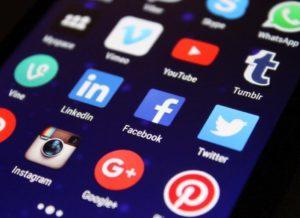 smartphone screen showing social media apps